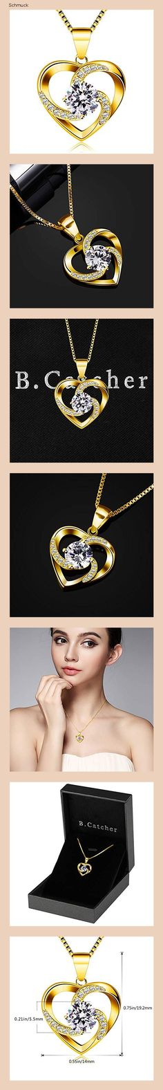 B.Catcher Kette Herz Damen Halskette 925 Sterling Silber Anhänger ''Liebe ist das Glück'' Schmuck Zirkonia 45CM Kettenlänge Geschenk für Damen (Gold) - 14nh Diamond, Gold, Jewelry, Fashion, Gifts For Ladies, Silver Pendants, Heart, Love, Schmuck