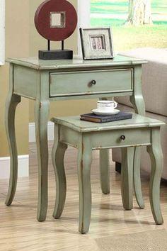 Antique Green Veneer Two-Piece Nesting Table Set