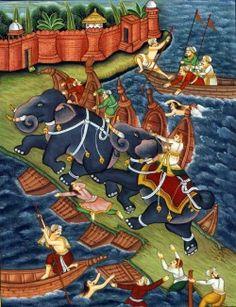 """Akbar o Grande  """"Akbar e o elefante Hawa'i""""  Do livro """"Akbarnama"""" (Livro de Akbar), escrito por Abu'l Fazl entre 1590 e 1596."""
