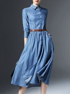 Blue Plain Belts V neck 3/4 sleeve Swing Simple Pockets Buttoned Denim Midi Dress with Belt