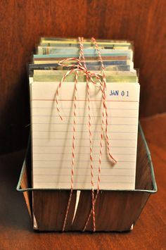 "Pinterest Challenge: DIY Christmas Gifts This is such a cute idea. It's a daily calendar that can be reused each year and gets better the longer you use it. Each day you write the year and something that happened that day like, ""(Child's name) took her first steps."" I imagine the first year wouldn't be as fun, but imagine how neat it would be in 10 years"