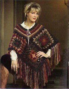 Not-So-Granny Square Wrap pattern by Shelle Hendrix Poncho Crochet Poncho Patterns, Granny Square Crochet Pattern, Crochet Squares, Crochet Granny, Crochet Shawl, Knit Crochet, Granny Square Häkelanleitung, Granny Squares, Granny Square Sweater