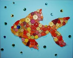 Good Luck Gold Fish - Bring good fortune your way when kids create this fun mosaic goldfish on canvas.