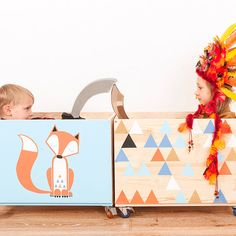 Set of two boxes. Toy chest nursery toy box toy bin by NOBOBOBO