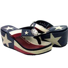 Montana West Flip Flops Western Texas American Pride Patriotic Wedge Sandals