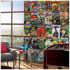 Both Jason and Peter are massive Comic fans... come to think of it, we kind of all are, which is why this eye-catching mural of more than 65 Marvel Comic Covers appeals to us. Plus, it allows our originals to stay safe in their mylar sleeves.