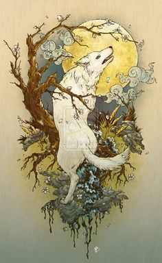 "According to an online dream dictionary, ""To see a white wolf in your dream signifies valor and victory. You have the ability to see the light even in your darkest hours.""  I've been dreaming of white wolves lately.  Thinking something like this might make a nice 1/4 sleeve tat--maybe for my 40th?"