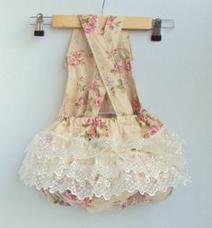 Made to order any size listed - Antique Rose and Lace Romper/Playsuit - Romper - lace - white - jumper - girl - baby - vintage inspired