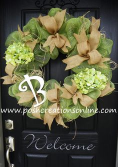 Spring Green Spring Wreath Deco Mesh Wreath with burlap bows.