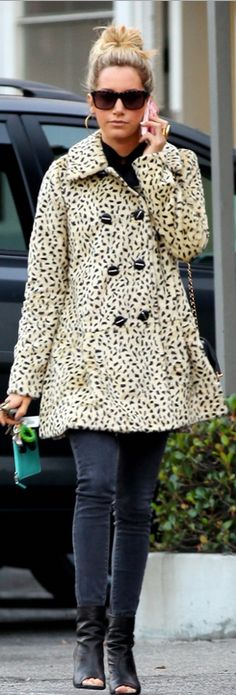 Who made  Ashley Tisdale's leopard coat that she wore in Los Angeles on December 6, 2012?