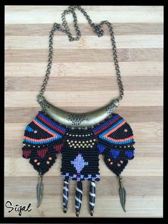 Micro macrame tribal necklace on antique bronze charm  Metal and Czech beads antique bronze feathers