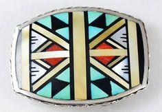 aa430af8c Item #884W- Vintage Zuni Multi Stone Geometrical Inlay Silver Belt Buckle  by CM Booqua