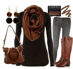 Adorable brown scarf, black blouse, jeans, handbag and long boots combination for fall