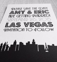 Las Vegas Silhouette Save the Date or by YourHappilyEverAfter