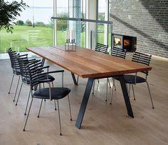 Danish elm dining table with angular legs