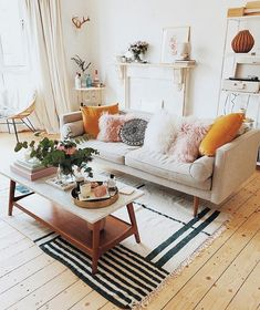 living room | beige sofa | white | mid century | girly | kate la vie | simple