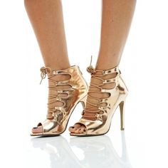90de9074d7 AX Paris METALLIC LACE UP PEEP TOE HEELS ( 49) ❤ liked on Polyvore  featuring shoes