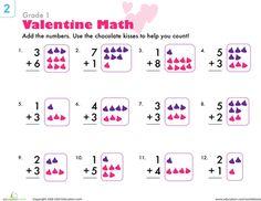 Worksheets: Valentine Math