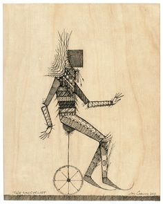 The Unicyclist drawn on wood panel