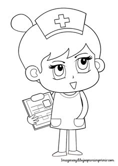 Nurse Carrying The Letter Pad With List Of Patients Coloring Pages
