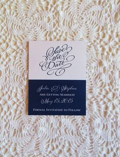 Navy Blue and White Save the Date by CZinvitations on Etsy