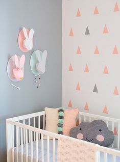 Cute walls...love the triangles, the peach and gray (or could do gold), and i love the cloud pillow!