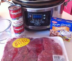 Crockpot Gravy Steak, with Healthy Request soups. I will nix the onion soup mix and put in some fresh sautéed onions. Serve with rice or mashed potatoes, and snow peas or roasted green beans. My mom makes this on the stovetop, when I ask for it, and it is one of my fondest memories.