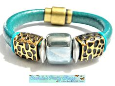 Leather Bead Bracelet  Cuff Brass  Blue by CookalasHouseOfCards, $24.49