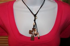 Leather Cord Freshwater Pearl Antique Copper Hammered Cross Lariat / Pendant Necklace BOHO Beach Chic on Etsy, $39.99