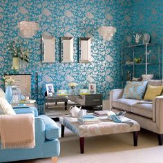 Dramatic damask living room