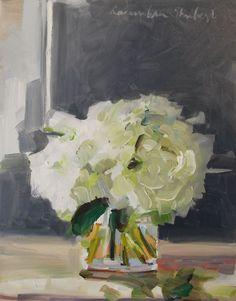 Artist:  Laura Lacambra Shubert.  White Peonies On Grey