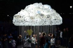 """Cloud Made of 6000 Light Bulbs """"Cloud"""" is an interactive art installation by artist Caitlind r.c. Brown that appeared September 15th 2012 in Alberta, Canada. The artwork is made of 1000 working light bulbs with pull chains and 5000 burn out lights donated by public. Visitors could pull out the pull chains to cause cloud shimmers"""