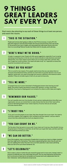 SEO Marketing Ideas 9 Things Great Leaders Say Every Day 9 things great leaders say everyday, leadership, inspiration, success People judge you by what you do--and by what you say. Here are nine phrases that should roll off your lips every single day. Life Skills, Life Lessons, Piano Lessons, Coaching Personal, Leadership Skill, Good Leadership Qualities, Qualities Of A Leader, Effective Leadership, Examples Of Leadership