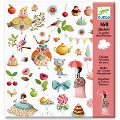Djeco Stickerset Prinzessinnen Teeparty - tolles Stickerset mit 160 Aufklebern - Bonuspunkte sammeln, Kauf auf Rechnung, DHL Blitzlieferung!
