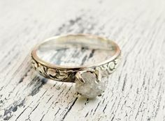 Rough Uncut Diamond Ring Rustic Silver Customized Engagement Ring. I love this idea.