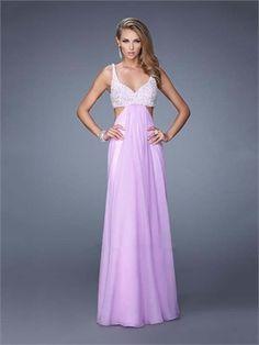 A-line Straps Beadings Cutout Back Chiffon Prom Dress PD11922