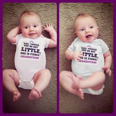"""Baby/Toddler """"And though she be but little, she is fierce"""" Shakespeare quote bodysuit/t shirt white and purple made to order sizes 3M-4T"""