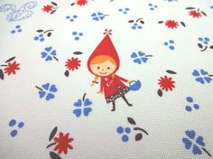 Japanese Fabric Red Riding Hood White  Fat Quarter