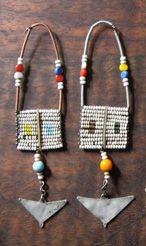 *Maasai Masai women's upper ear beaded old worn jewelry* Tribal Earrings, Tribal Jewelry, Copper Jewelry, Body Jewelry, Jewellery, Fabric Necklace, Body Piercing, Recycling, Necklaces