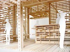 Architecture Model made of wooden sticks. Ramen, Architecture Model Making, Market Stalls, Sticks, Cube, Studio, Building, Wood, Furniture