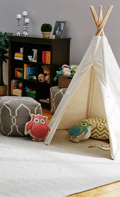 Teepee as a reading nook! Cute!