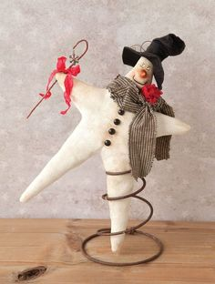 Twinkles the snowman was created after P.Gracia's beloved Christmas tree topper broke and repurposes a rusty bedspring as a stand. Primitive Christmas, Rustic Christmas, Handmade Christmas, Vintage Christmas, Christmas Tree Toppers, Christmas Snowman, Christmas Holidays, Christmas Ornaments, Bed Spring Crafts