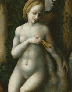 By Bachiacca (Francesco d'Ubertino Verdi) (1494-1557 Florence), Leda and the Swan, oil on wood. (detail)