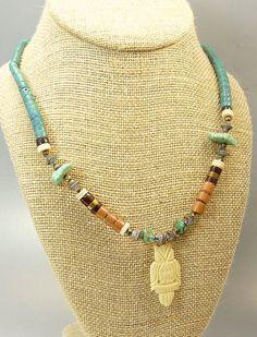 #vogueteam #etsygift Vintage Southwestern Heishi Bead Necklace Owl Pendant by jujubee1