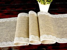 Burlap table runner wedding table runner with vintage ivory lace rustic romantic wedding, handmade in the USA