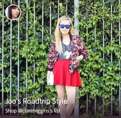 Get the look from @Shopcade feat @JOO KIM https://www.shopcade.com/clarehiggins/lists/5326360a66a92fbb29a8494d/joos-roadtrip-style #fbloggers #bbloggers #lbloggers #skaterskirt #red #disney #floralbomber