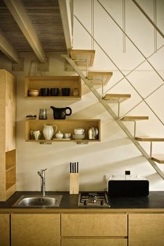 When designing your home and you have limited space, a clever strategy would be to annex the unused space to house a space-saving kitchen under the stairs. Space Saving Kitchen, Small Space Kitchen, Small Space Living, Design Your Home, House Design, Kitchen Under Stairs, Kitchen Design Open, Open Kitchen, Kitchen Designs