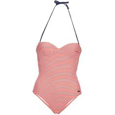 Maillot de bain 1 pièce pin-up style retro à rayure blanc et rouge Little Marcel