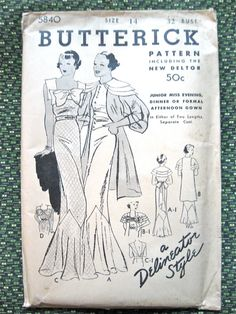 1930s gown sewing pattern by Butterick 5840  Bust 32 inches