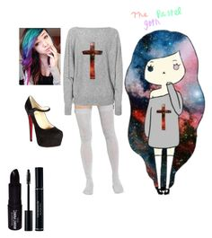 """""""The Pastel Goth #2"""" by lauren-12-pyd ❤ liked on Polyvore featuring Miss Goodlife, Christian Louboutin and Manic Panic"""